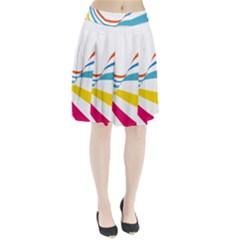 Line Rainbow Orange Blue Yellow Red Pink White Wave Waves Pleated Skirt