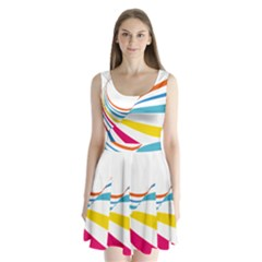 Line Rainbow Orange Blue Yellow Red Pink White Wave Waves Split Back Mini Dress