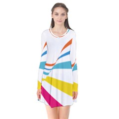 Line Rainbow Orange Blue Yellow Red Pink White Wave Waves Flare Dress