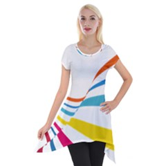 Line Rainbow Orange Blue Yellow Red Pink White Wave Waves Short Sleeve Side Drop Tunic