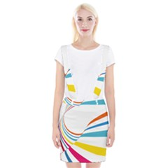 Line Rainbow Orange Blue Yellow Red Pink White Wave Waves Suspender Skirt