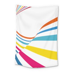Line Rainbow Orange Blue Yellow Red Pink White Wave Waves Small Tapestry