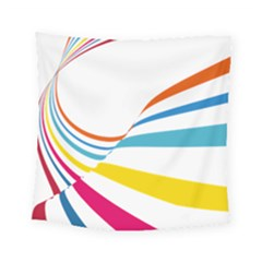 Line Rainbow Orange Blue Yellow Red Pink White Wave Waves Square Tapestry (small)