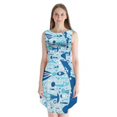 New Zealand Fish Detail Blue Sea Shark Sleeveless Chiffon Dress