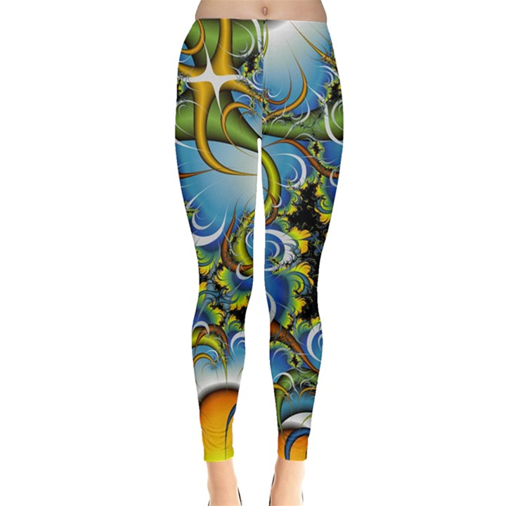 High Detailed Fractal Image Background With Abstract Streak Shape Leggings