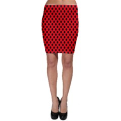 Polka Dot Black Red Hole Backgrounds Bodycon Skirt