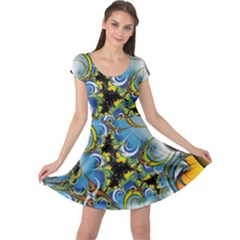 High Detailed Fractal Image Background With Abstract Streak Shape Cap Sleeve Dresses