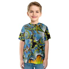 High Detailed Fractal Image Background With Abstract Streak Shape Kids  Sport Mesh Tee