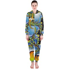 High Detailed Fractal Image Background With Abstract Streak Shape Hooded Jumpsuit (Ladies)
