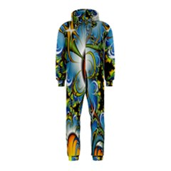 High Detailed Fractal Image Background With Abstract Streak Shape Hooded Jumpsuit (Kids)