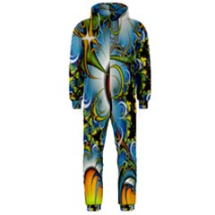 High Detailed Fractal Image Background With Abstract Streak Shape Hooded Jumpsuit (Men)
