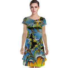 High Detailed Fractal Image Background With Abstract Streak Shape Cap Sleeve Nightdress