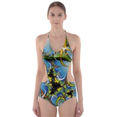 High Detailed Fractal Image Background With Abstract Streak Shape Cut-Out One Piece Swimsuit