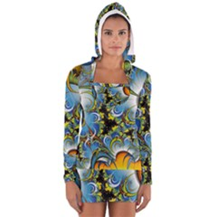High Detailed Fractal Image Background With Abstract Streak Shape Women s Long Sleeve Hooded T Shirt