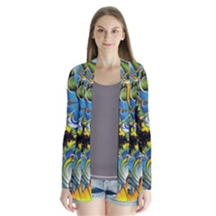 High Detailed Fractal Image Background With Abstract Streak Shape Cardigans