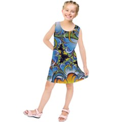 High Detailed Fractal Image Background With Abstract Streak Shape Kids  Tunic Dress