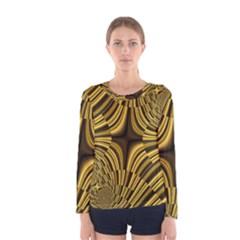 Fractal Golden River Women s Long Sleeve Tee
