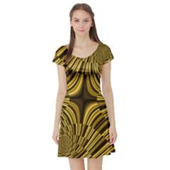Fractal Golden River Short Sleeve Skater Dress