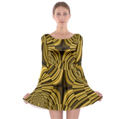 Fractal Golden River Long Sleeve Skater Dress
