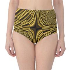 Fractal Golden River High-Waist Bikini Bottoms
