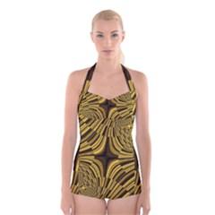 Fractal Golden River Boyleg Halter Swimsuit