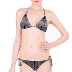 Color Fractal Symmetric Wave Lines Bikini Set