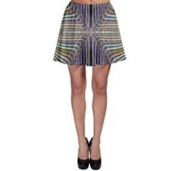 Color Fractal Symmetric Wave Lines Skater Skirt