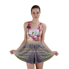 Color Fractal Symmetric Wave Lines Mini Skirt