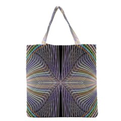 Color Fractal Symmetric Wave Lines Grocery Tote Bag