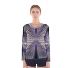 Color Fractal Symmetric Wave Lines Women s Long Sleeve Tee