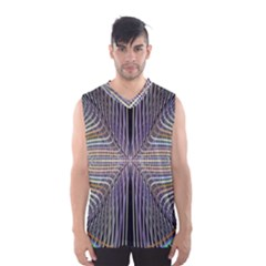 Color Fractal Symmetric Wave Lines Men s Basketball Tank Top
