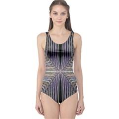 Color Fractal Symmetric Wave Lines One Piece Swimsuit