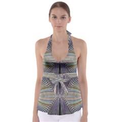 Color Fractal Symmetric Wave Lines Babydoll Tankini Top