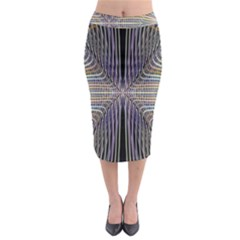 Color Fractal Symmetric Wave Lines Midi Pencil Skirt