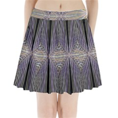 Color Fractal Symmetric Wave Lines Pleated Mini Skirt