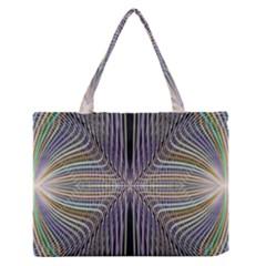 Color Fractal Symmetric Wave Lines Medium Zipper Tote Bag