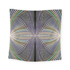 Color Fractal Symmetric Wave Lines Square Tapestry (small)