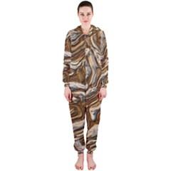 Fractal Background Mud Flow Hooded Jumpsuit (Ladies)