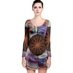 Background Image With Hidden Fractal Flower Long Sleeve Bodycon Dress