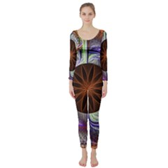 Background Image With Hidden Fractal Flower Long Sleeve Catsuit