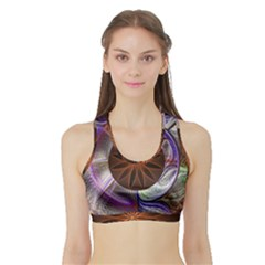 Background Image With Hidden Fractal Flower Sports Bra With Border