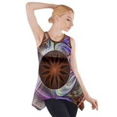Background Image With Hidden Fractal Flower Side Drop Tank Tunic