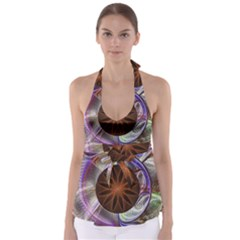 Background Image With Hidden Fractal Flower Babydoll Tankini Top