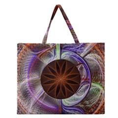 Background Image With Hidden Fractal Flower Zipper Large Tote Bag