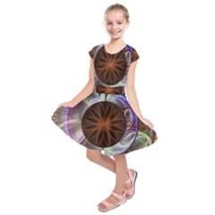 Background Image With Hidden Fractal Flower Kids  Short Sleeve Dress
