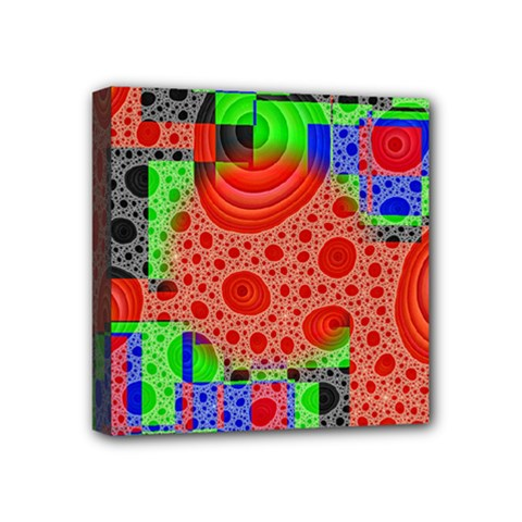 Background With Fractal Digital Cubist Drawing Mini Canvas 4  X 4