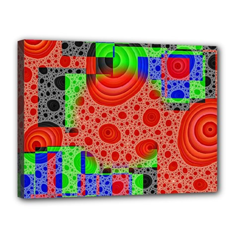 Background With Fractal Digital Cubist Drawing Canvas 16  X 12