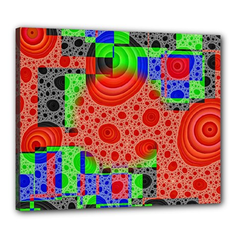 Background With Fractal Digital Cubist Drawing Canvas 24  X 20