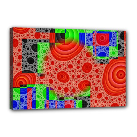 Background With Fractal Digital Cubist Drawing Canvas 18  X 12