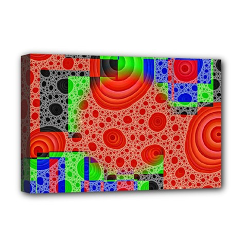 Background With Fractal Digital Cubist Drawing Deluxe Canvas 18  x 12